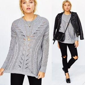 UO Ecote Chunky Cable Knit Madison Sweater Grey XS